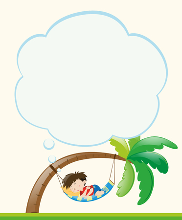 Frame template with boy napping on tree illustration