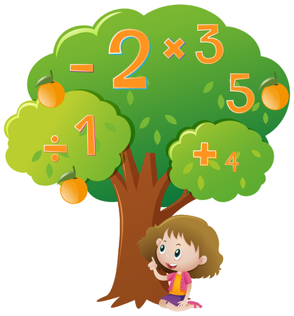Girl and numbers on the tree illustration Illustration