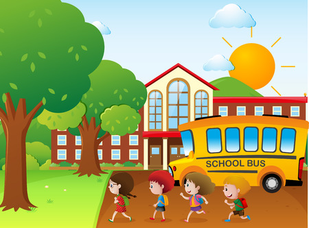 schoolbus: Kids going to school by school bus illustration Illustration
