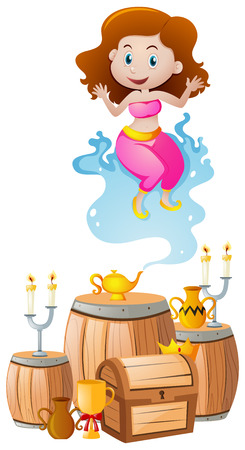 Cute genie coming out of lamp illustration