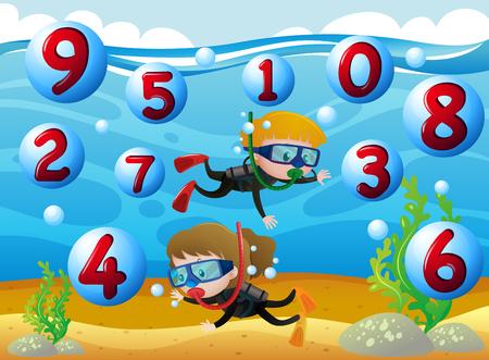 子供ダイビング海の図の番号と