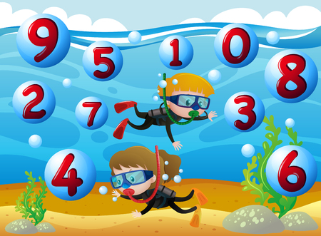 Kids scuba diving with numbers in the sea illustration Vectores