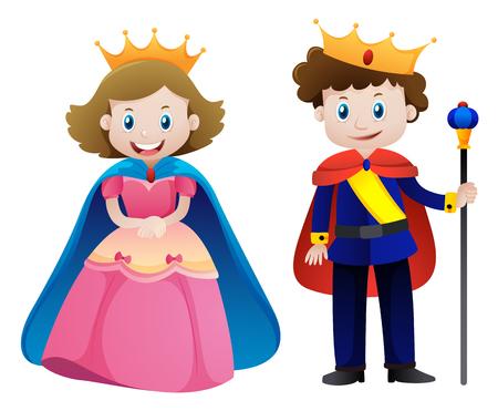 王と王妃の白い背景のイラストを