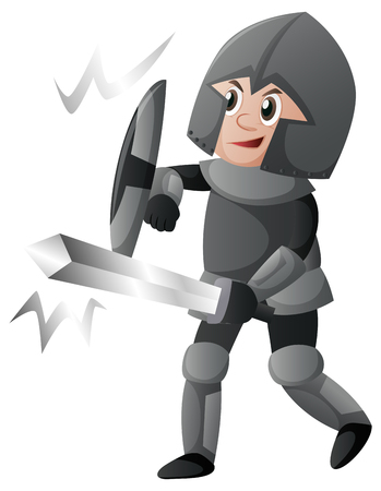 Knight with shield and sword illustration Illustration