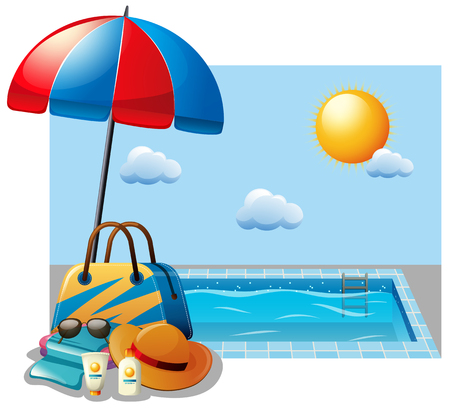 Summer scene with swimming pool and umbrella illustration