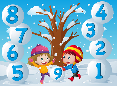 Winter background with kids and numbers illustration