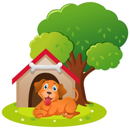 doghouse: Little dog sitting in the doghouse illustration