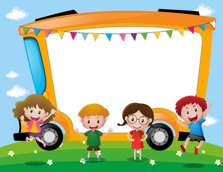Background template with school kids illustration Illustration
