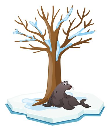 Seal sitting under the tree illustration Illustration