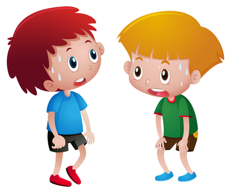 Two boys sweating and tired illustration Illustration