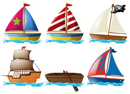 Different kinds of vessels illustration Illustration