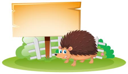 Wooden board and hedgehog in garden illustration
