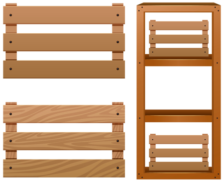 Different designs of wooden shelves illustration Illustration