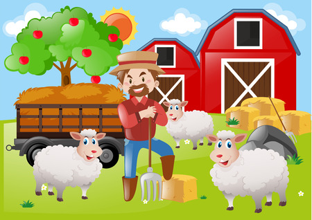 Farmer and sheeps on the farm illustration