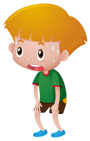 Boy with sweats on his face illustration Illustration