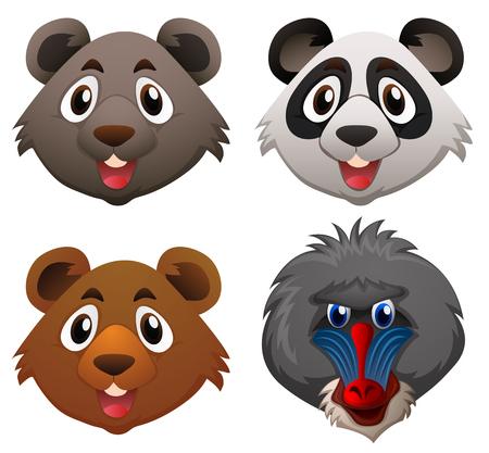 Four faces of wild animals illustration Illustration