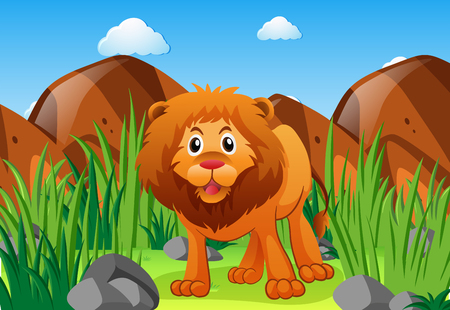 Wild lion in the forest illustration Illustration