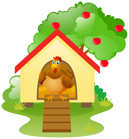 Chicken in the chicken coop illustration Illustration