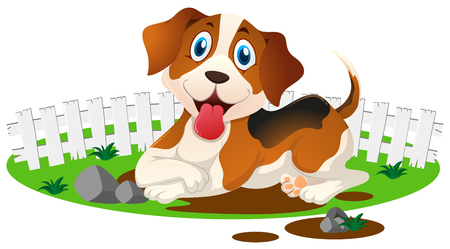 Little puppy in the muddy puddle illustration Illustration