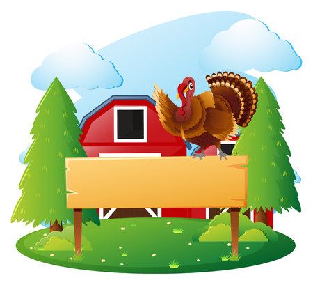 Wooden sign template and turkey in farmyard illustration Illustration