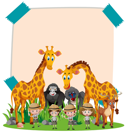 Paper template with wild animals and kids illustration Illustration