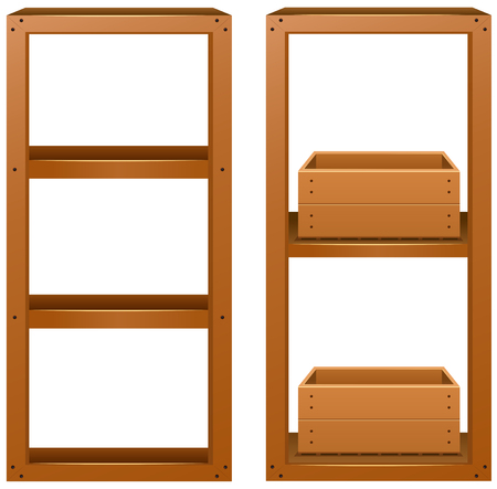 plywood: Wooden shelves with wooden boxes illustration