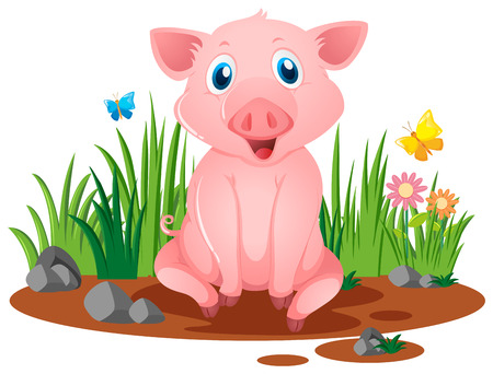 Little pig sitting in muddy puddle illustration Ilustração