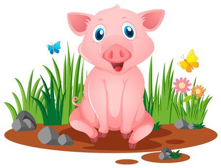 Piccolo maiale seduto in illustrazione fangosa pozzanghera