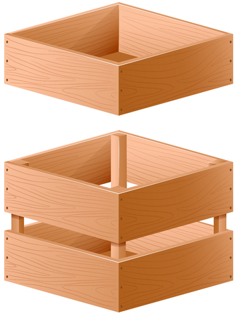 storage box: Two designs of wooden box illustration