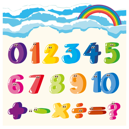 rainbow sky: Font design for numbers and signs in many colors illustration Illustration