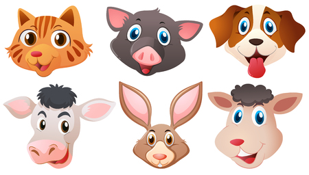 hapy: Different heads of cute animals illustration