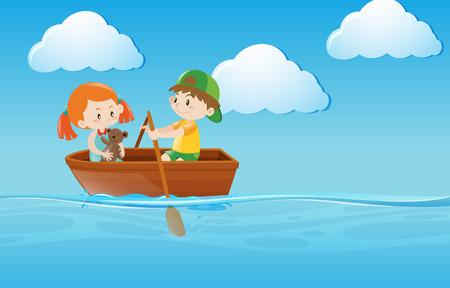 Enfants bateau avec rames dans la rivière illustration