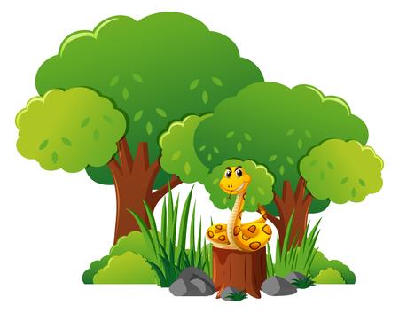 Snake on stump tree in forest illustration
