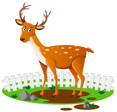 muddy: Deer standing on muddy puddle illustration