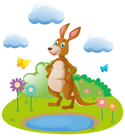 Cute kangaroo by the pond illustration