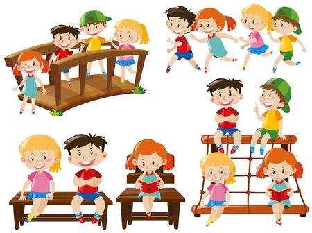 Children doing different activities illustration