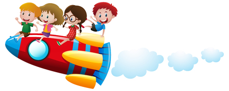 Four kids riding on rocket illustration Ilustração
