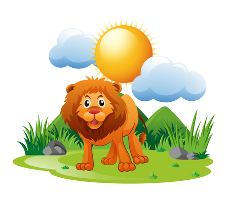 Lion standing on grass illustration Illustration