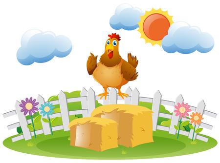 Chicken standing on haystack illustration