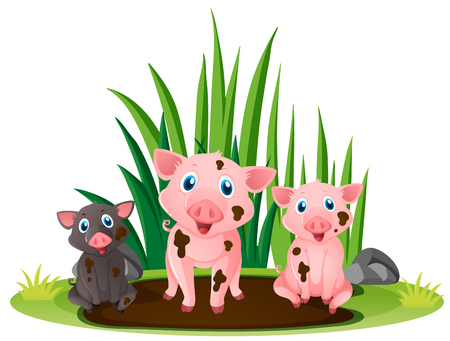 three little pigs: Three little pigs playing in muddy puddle illustration