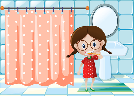 youngster: Little girl brushing teeth in bathroom illustration Illustration