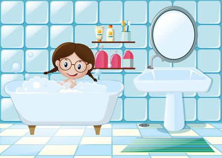 youngster: Little girl taking bath in bathroom illustration Illustration