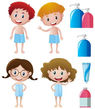 Boys and girls in bathtowels illustration