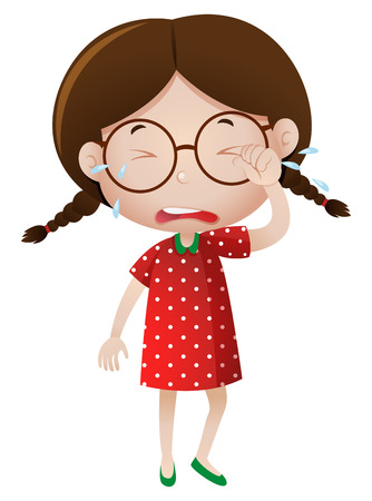 youngster: Little girl crying with tears illustration
