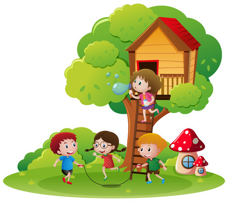 Kids jumping rope in the park illustration