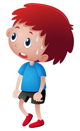 Kleiner Junge im blauen Hemd , der Illustration zerreißt Standard-Bild - 80241663