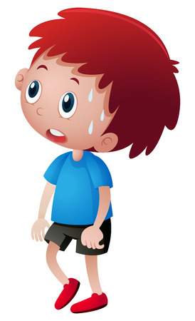 Little boy in blue shirt sweating illustration