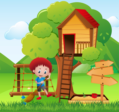 Little boy sweeping the garden illustration Illustration