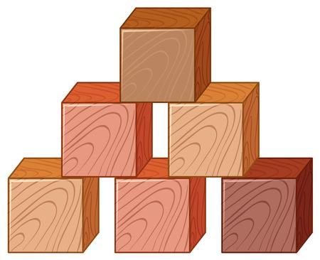 Wooden cubes in stack illustration Illustration