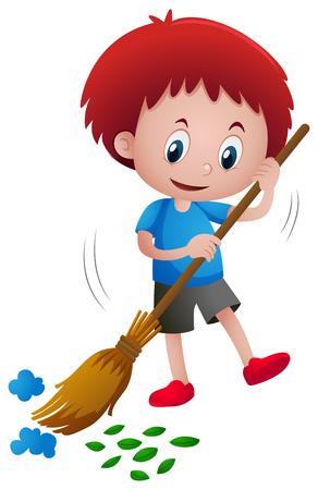 Boy sweeping leaves and trash illustration